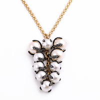 Noble Luxury White Pearl Pendant Long Necklace Women Accessories Designer Jewelry Factory Wholesale