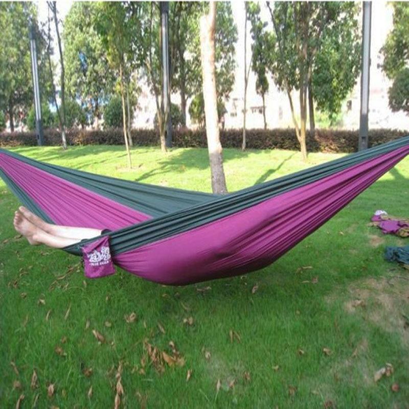 Outdoor or Indoor Parachute Cloth Sleeping Hammock Camping Hammock high quality multicolor TB Sale