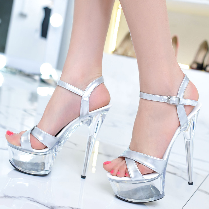 Sexy silver strappy open toe high heels patent waterproof platform this summer new style