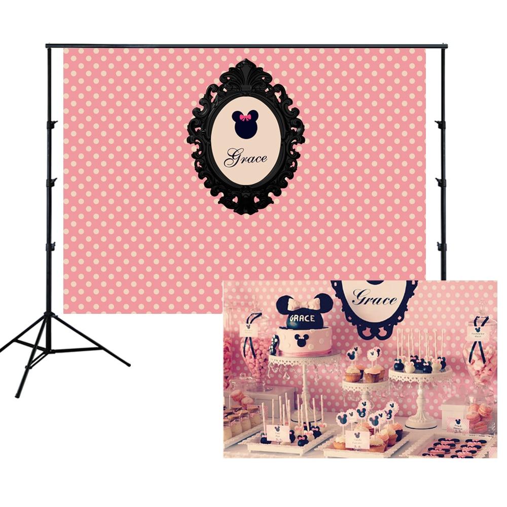 Pink Minnie Backdrop Polka Dots Girls Birthday Party