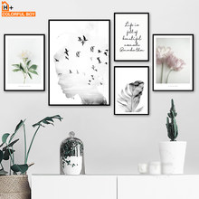Girl bird Flower Feather Quotes Landscape Wall Art Canvas Painting Nordic Posters And Prints Wall Pictures For Living Room Decor(China)