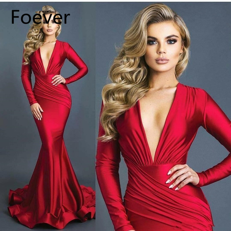 2019 Sexy Red Elastic Silk Like Satin Deep V-neck Mermaid Red   Evening     Dresses   Ruched Long Sleeves Formal Prom   Dress   Vestidos