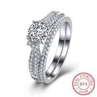 Love Simulated Engagement Wedding Ring Sets 925 Sterling Silver Crystal Promise Ring Bands For Women