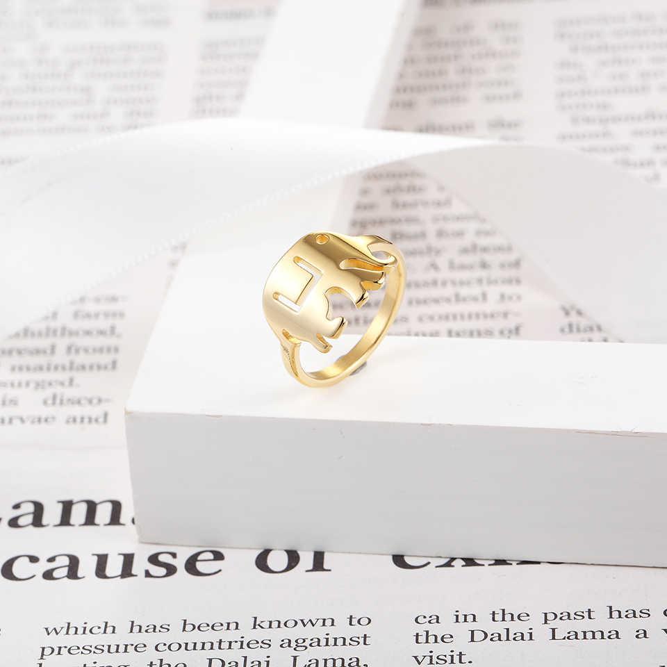 BORASI ช้างแหวนทอง - สีหญิงโรแมนติกแหวน 316L สแตนเลสแฟชั่นเครื่องประดับของขวัญวาเลนไทน์แหวน