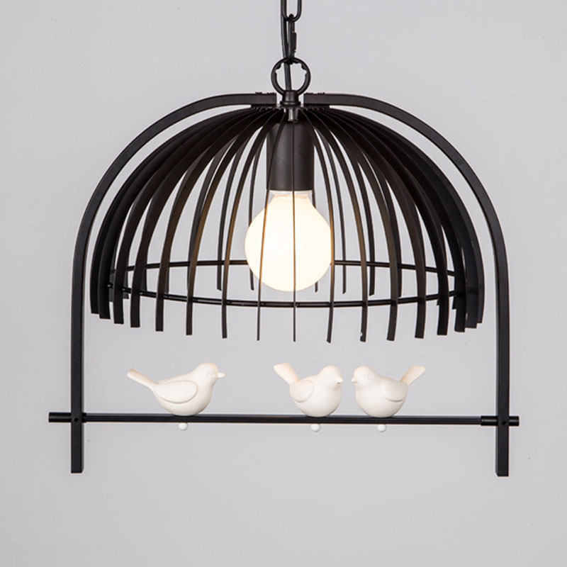 Personality Bedroom Dining room restaurant corridor Pendant lamp American country bird cage droplight Suspension Fixtures vintage pendant lamp american country style retro bird cage droplight black white rust suspension hanging lighting fixtures