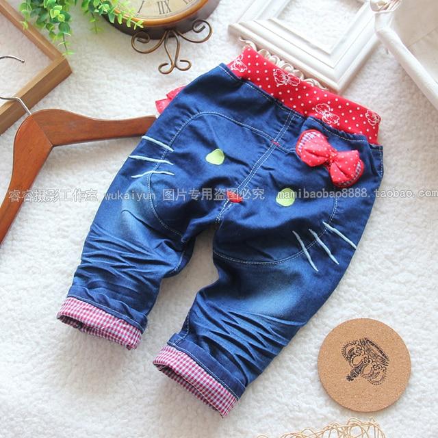 Новый 2014 весна осень дети джинсы для девочек брюки случайные штаны детей cute kitty джинсовые шаровары