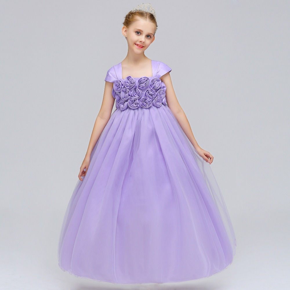 High Quality 2018 Princess Style   Dress   For First Communion Tulle Lace with Bow Cheap   Flower     Girl     Dresses   for Weddings
