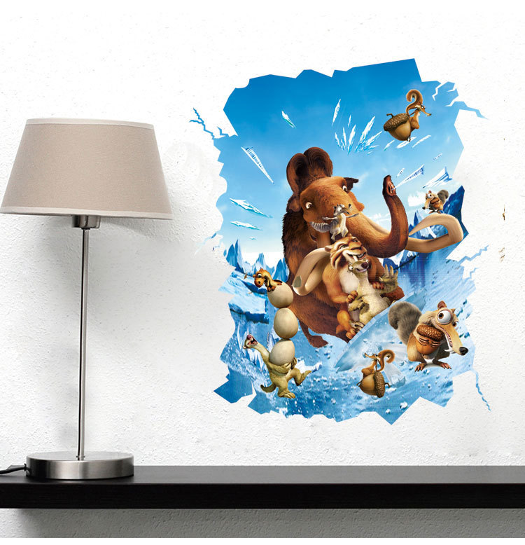 2016 New Creative Removable 3d Cartoon Glacier Age Home Decoration Wall Stickers Living Room Sofa Wall