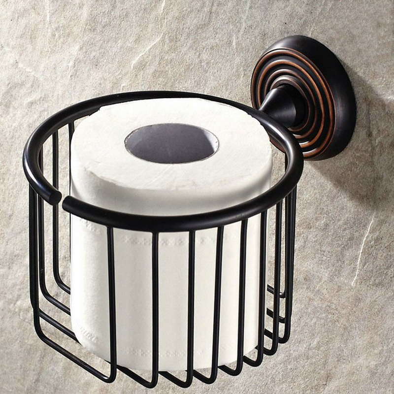 Bathroom Accessory Black Oil Rubbed Bronze Wall Mounted Toilet Paper Roll Basket Holder aba071Bathroom Accessory Black Oil Rubbed Bronze Wall Mounted Toilet Paper Roll Basket Holder aba071