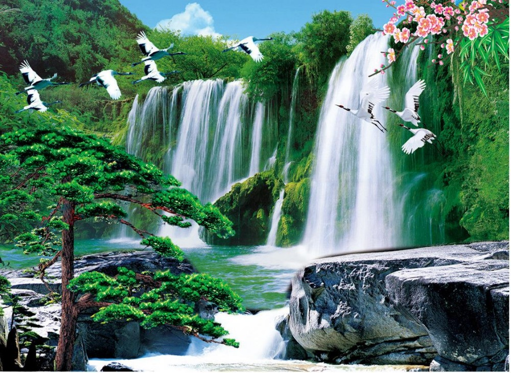 Waterfall 3d Wallpaper Landscape Custom Photo Wallpaper