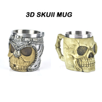 400ML Double Wall Stainless Steel 3D Skull Mugs Coffee Tea Bottle Mug Skull Knight Tankard Dragon