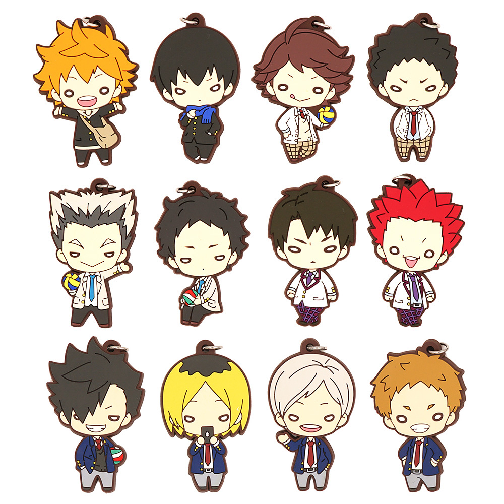 Haikyuu! Anime Hinata Tooru Kozume Kenma Kuroo Tetsurou Bokuto Koutarou Tendo Satori Akaashi Keiji Beaneye Rubber Keychain haikyuu nekoma high school summer uniform kozume kenma kuroo tetsurou cosplay halloween costumes