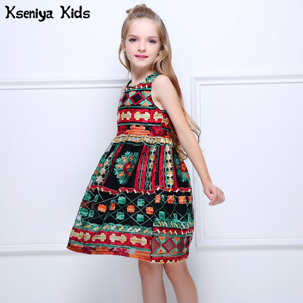 Kseniya Kids Summer Girls European American Bohemian Novelty Style Lace Party Retro Princess Dress Girls Court