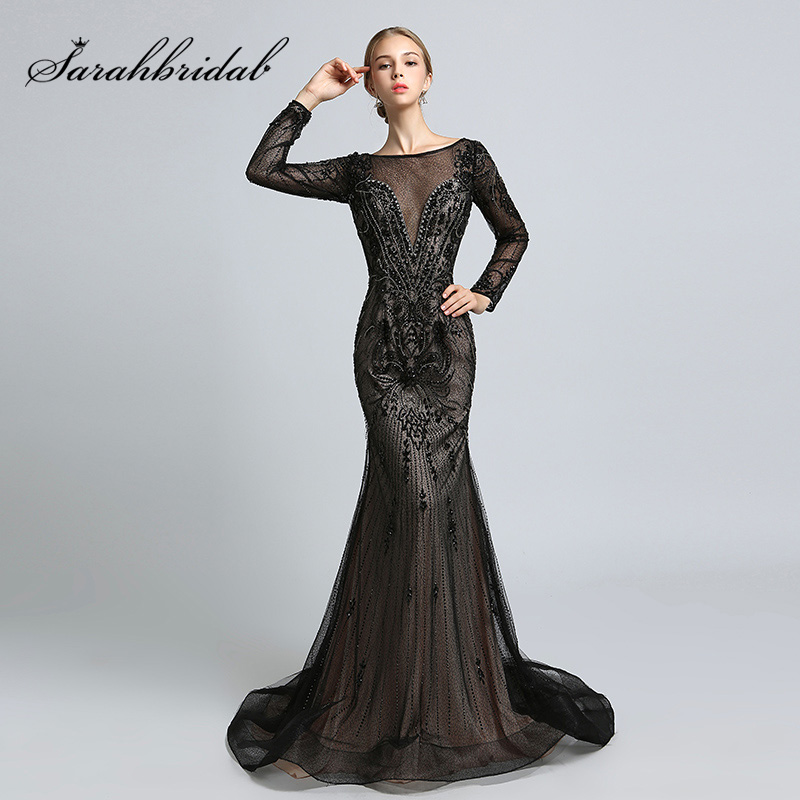 2018 Muslim Black Long Sleeve   Evening     Dresses   with Full of Beading Crystal Tulle Long Mermaid   Dress   In Stock Party Gowns OL366