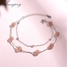 Anenjery Simple Fashion Natural Strawberry Crystal Double Layer Chain Bracelet For Women Silver Color Jewelry S-B173