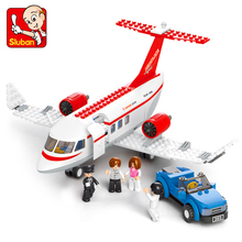 Genuine SLUBAN 0365 275Pcs City Air Plane Airport Airplane Bus Model Building Block Toys For Children Compatible
