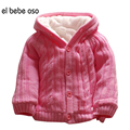 el bebe oso Baby Girl Boy Clothes Autumn/Winter Wool Sweater Children Outwear Cute Girl Coat Knitted Warm Hooded Sweaters XL40