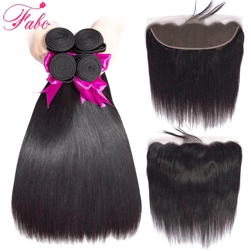 FABC Hair straight malaysian hair bundles with closure 13*4 lace frontal non remy human hair extension 3 bundles natural black