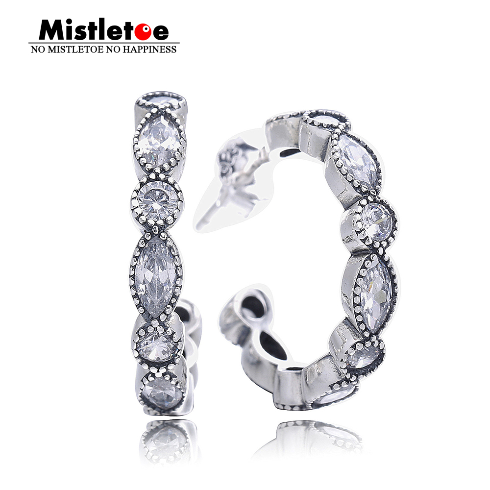 Authentic 925 Sterling Silver Alluring Brilliant Marquise, Clear CZ Earring Compatible with European Jewelry