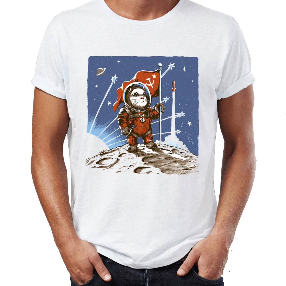 Men's T-shirt Soviet Union Space Adventure Astronaut Cat Dog And Hamster Celebrated Scientific Achievement For Mankind Tshirt