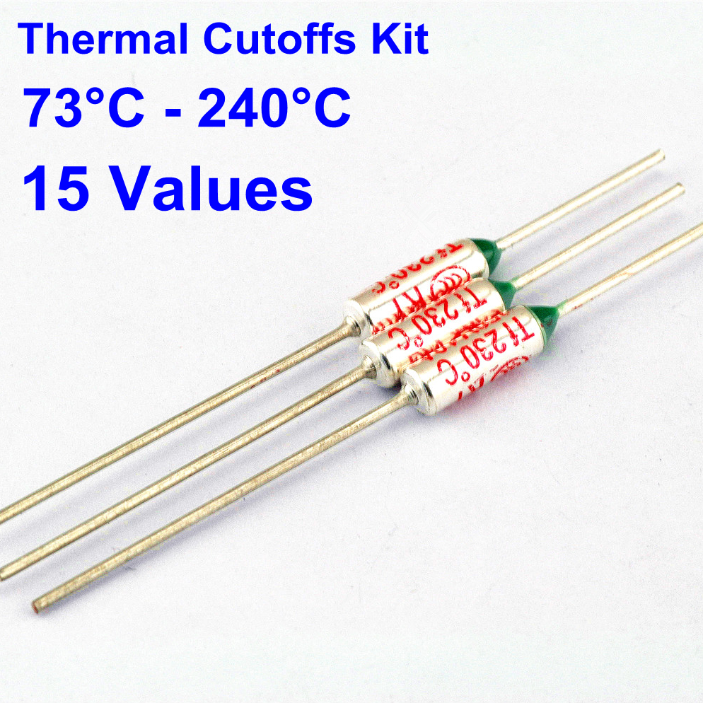 75pcs Thermal Fuse 10a 250v Thermal Cutoffs 73c Degree 240c Degree Temperature Fuse 15 Values