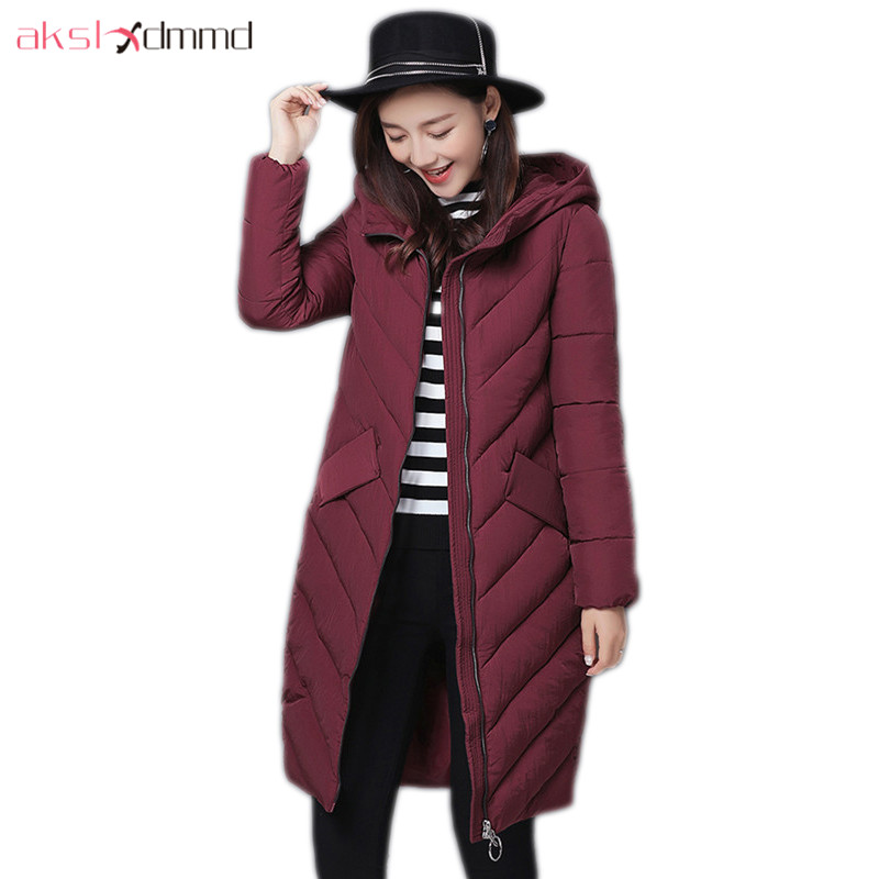 AKSLXDMMD Parkas Mujer Casual Zipper Cotton Coat Female 2017 New Fashion Solid Color Mid-long Hooded Winter Jacet Women LH1215 akslxdmmd winter women jacket 2017 new casual parkas mujer women thick padded cotton pockets slim mid long coats female lh1191