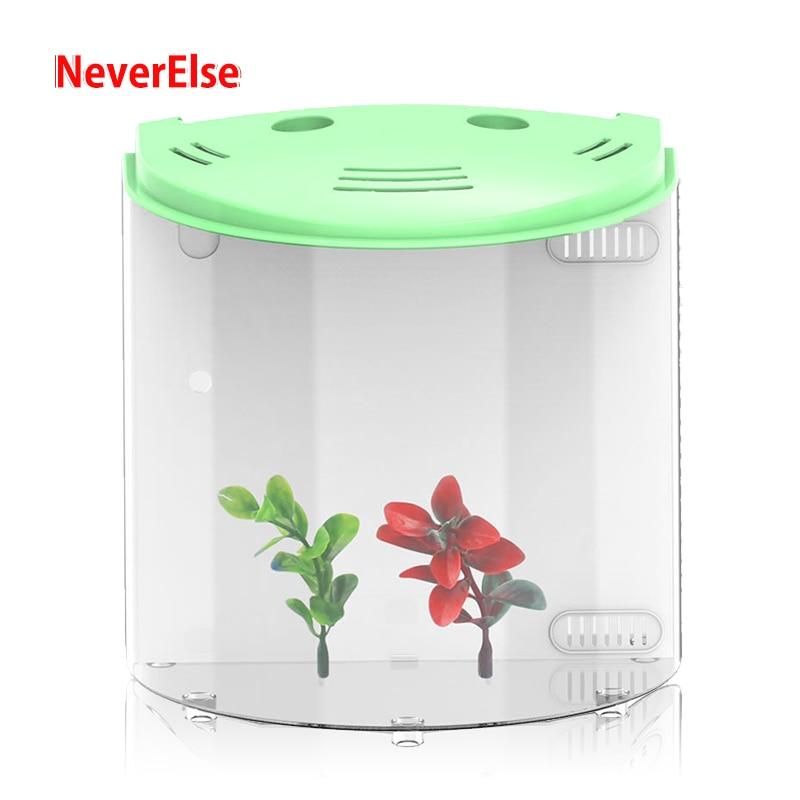 USB Desk Aquarium Small Fish Tank LED Lighting Water Pump Filter Sponge Adjustable Air Oxygen 5L