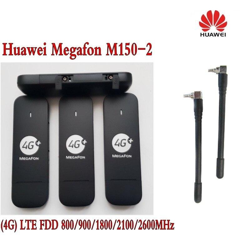 Huawei Débloqué E3372 megafon M150-2 LTE/4G 150 Mbps Dongle USB Modem Noir plus 2 pièces antenne