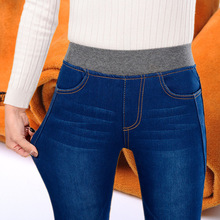 2019 zimowe ciepłe grube damskie dżinsy z wysokim stanem dżinsy kobieta dżinsy dla mamy dżinsy damskie dla kobiet jean femme Plus rozmiar czarny tanie tanio YUKIESUE Pełnej długości Akrylowe Poliamid Na co dzień JEANS 9187 Zmiękczania Ołówek spodnie skinny light Zniszczyć Mycia