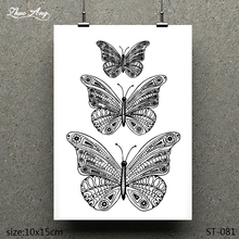 ZhuoAng Three Butterfly Pattern Design Clear Stamp / Scrapbook Rubber Craft Card Seamless