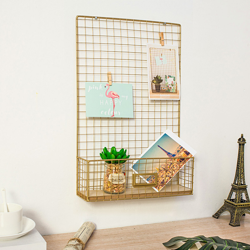 Home Decor Nordic Style Iron Photos Wall Hanging Rack Grids Mesh Hanging Decoration Living Room With Postcards Clips
