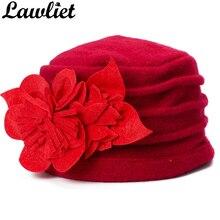 Lawiet Women Winter Hats Flower Trimmed Warmer Wool Beanie Cap Women Beret Ladies Hats Elegant Dress