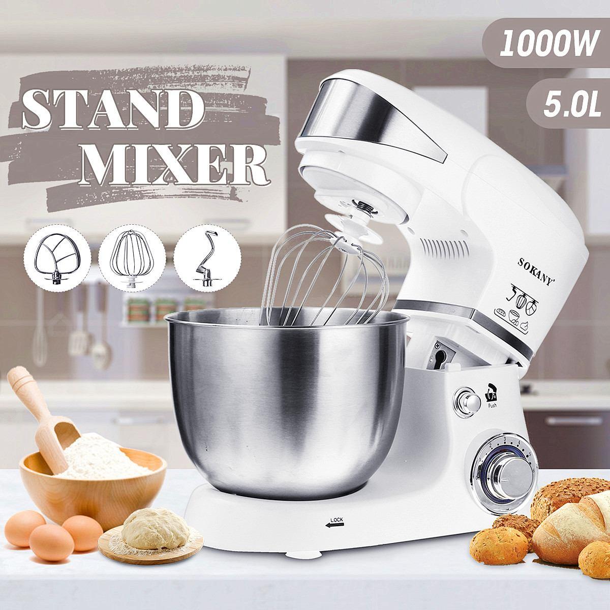 1000 W 5L Cozinha Batedeira Comida 6 velocidade Tigela de Aço Inoxidável Ovo Whisk-Liquidificador Misturador de Massa da Máquina do Fabricante cozinha Cozinhar Ferramentas