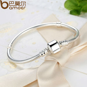 Image 4 - BAMOER TOP SALE Authentic 100% 925 Sterling Silver Snake Chain Bangle & Bracelet for Women Luxury Jewelry 17 20CM PAS902
