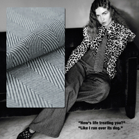 People Stretch Vertical Stripes Pattern Herringbone Wool Worsted Woolen Fabric Thick Cloth Fabric