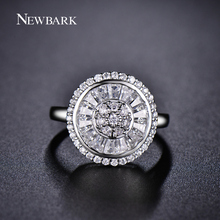 NEWBARK Super Quality Wedding Rings for Women Elegance Channel Setting Round 15.5mm Clear Crystal Shiny Flower Finger Ring