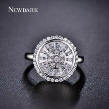 NEWBARK Canal Réglage Ronde Anneau Brillant AAA CZ Diamant Bagues de Fiançailles Pour Les Femmes Or Blanc Plaqué De Bijoux De Mariage(China (Mainland))