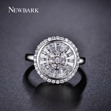 NEWBARK Super Quality Wedding Rings for Women Elegance Channel Setting Round 15.5mm Clear Crystal Shiny Flower Finger Ring(China)