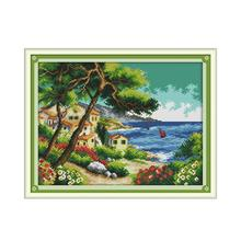 Seaside Village Counted Cross Stitch DMC 11CT 14CT Landscape Pictures Printed Canvas Embroidery Kits