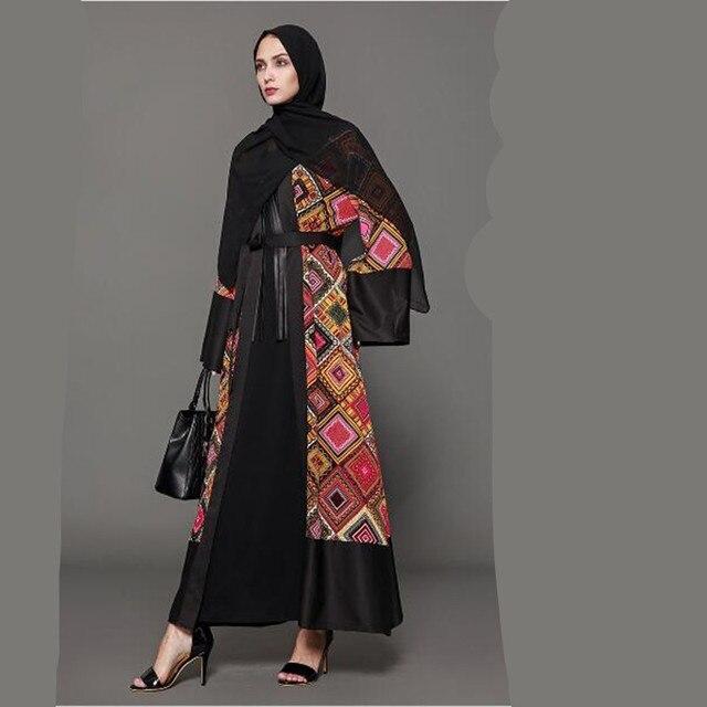 9547758b653dd Muslim Abaya Print Maxi Dress Cardigan Kimono Robe Gowns Loose Style Tunic  Musulmane Dubai Middle East Islamic Clothing QC395