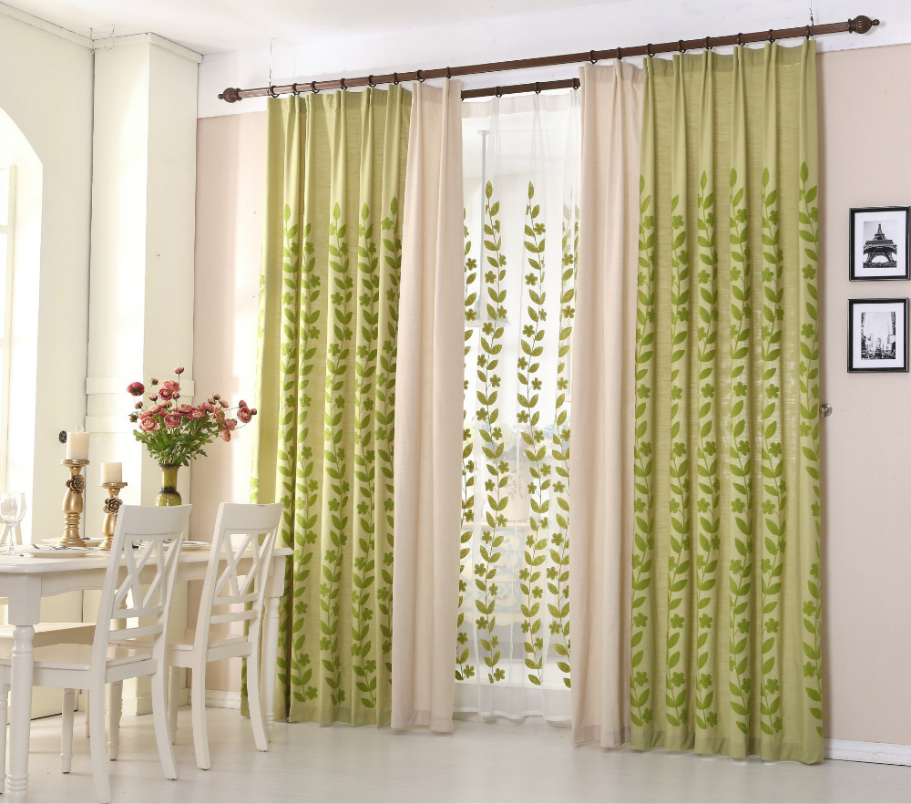 The new cotton embroidered cloth green large leaves bedroom balcony ...