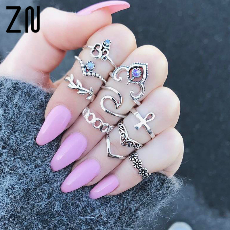 ZN 10pcs/Set Antique Silver Color Cross Crown Crystal Rhinestone Finger Rings For Women Flower Midi Knuckle Ring Set Jewelry