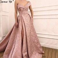 Sexy Long Pink Off Shoulder Formal Evening Gown Dress Split Evening Dresses vestido de festa 2018 BLA6485