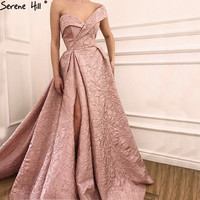 Sexy Arabic Long Pink Off Shoulder Formal Evening Prom Party Gown Dress Evening Dresses Avondjurken Gala Jurken 2018 BLA6485