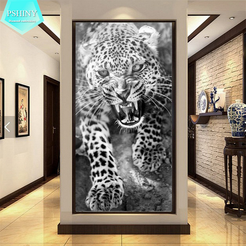 PSHINY 5D DIY Diamond painting leopard animals Pictures with full display Round rhinestones Diamond embroidery sale new arrivals