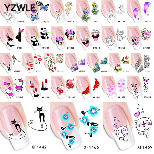 1 Sheet 2018 Top Sell Flower Bows Etc Water Transfer Sticker Nail ...