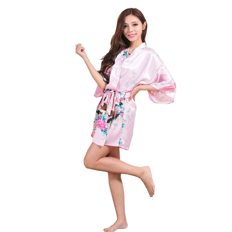 0b5ca66e95 Silk Satin Wedding Bride Bridesmaid Robe Floral Bathrobe Short ...
