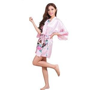 Image 3 - Silk Satin Wedding Bride Bridesmaid Robe Floral Bathrobe Short Kimono Robe Night Robe Bath Robe Fashion Dressing Gown For Women