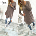 2017 New Fashion Sexy Women O-neck Casual Loose Long Sleeve Dress & Irregular Hem Solid Dress For Women Ladies Autumn Clothings