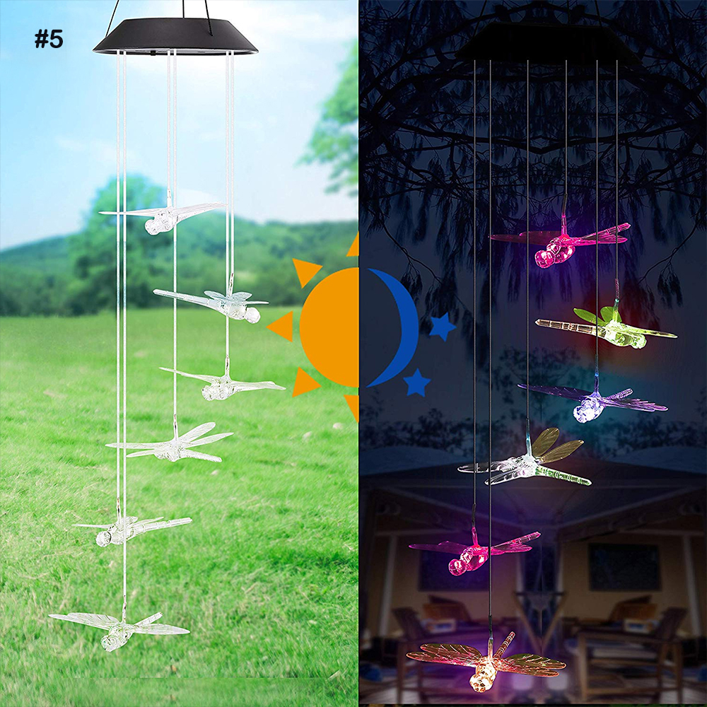 Solar Powered LED Wind Chime Portable Color Changing Spiral Spinner Windchime Outdoor Decorative Windbell Light